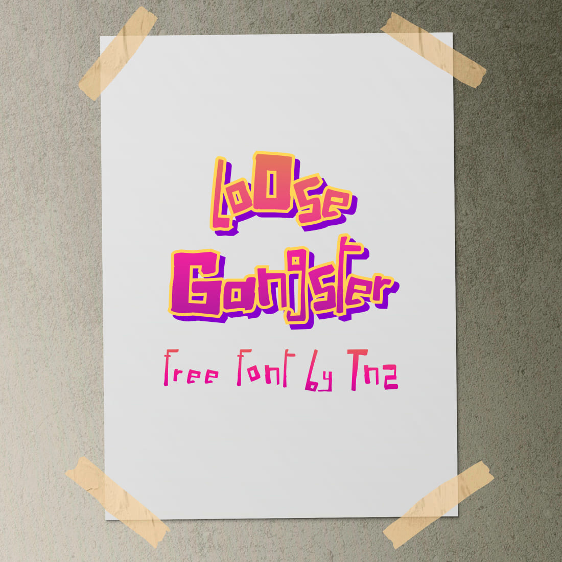 Free Gangster Font Bright Collage Image.
