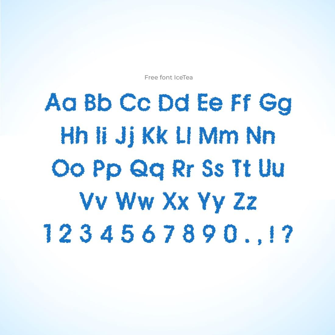 MasterBundles Free Ice Font Cover with Alphabet.