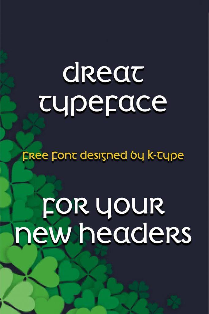 MasterBundles Free Irish Font Pinterest Preview with Example Phrase.