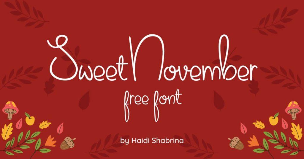 MasterBundles Free Thanksgiving Font Sweet November Facebook Collage Image.
