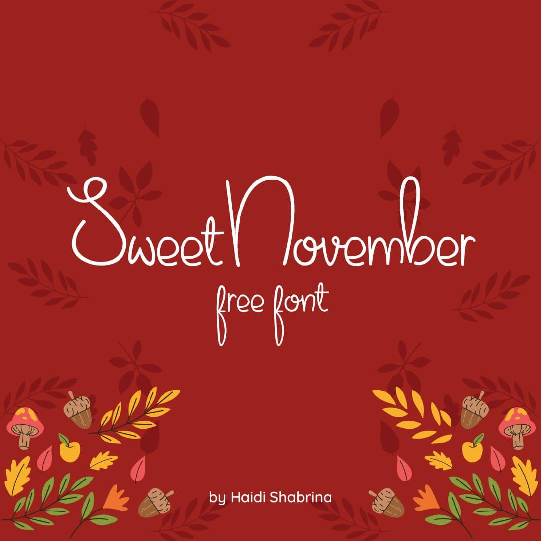 MasterBundles Free Thanksgiving Font Sweet November Main Cover Preview.