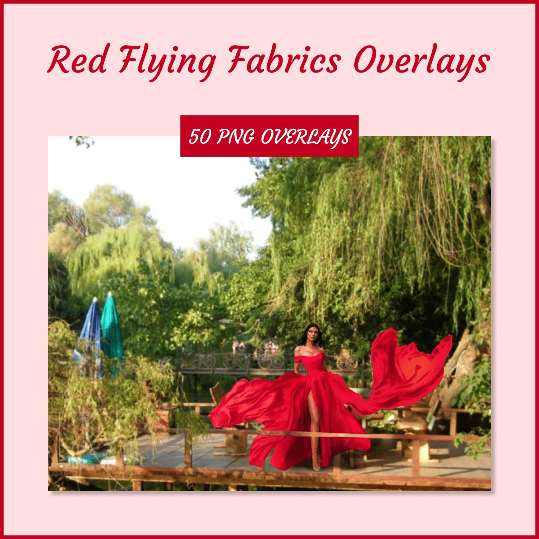 Red Flying Fabrics Overlays by MasterBundles Collage Image.