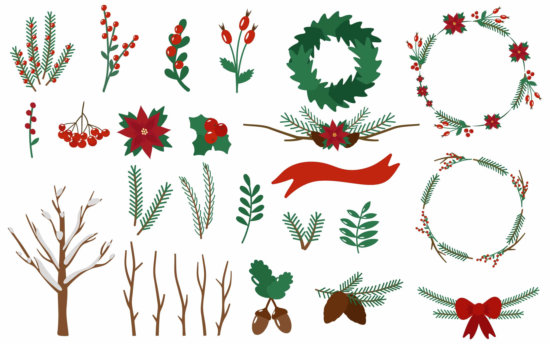 Set Christmas twigs elements.