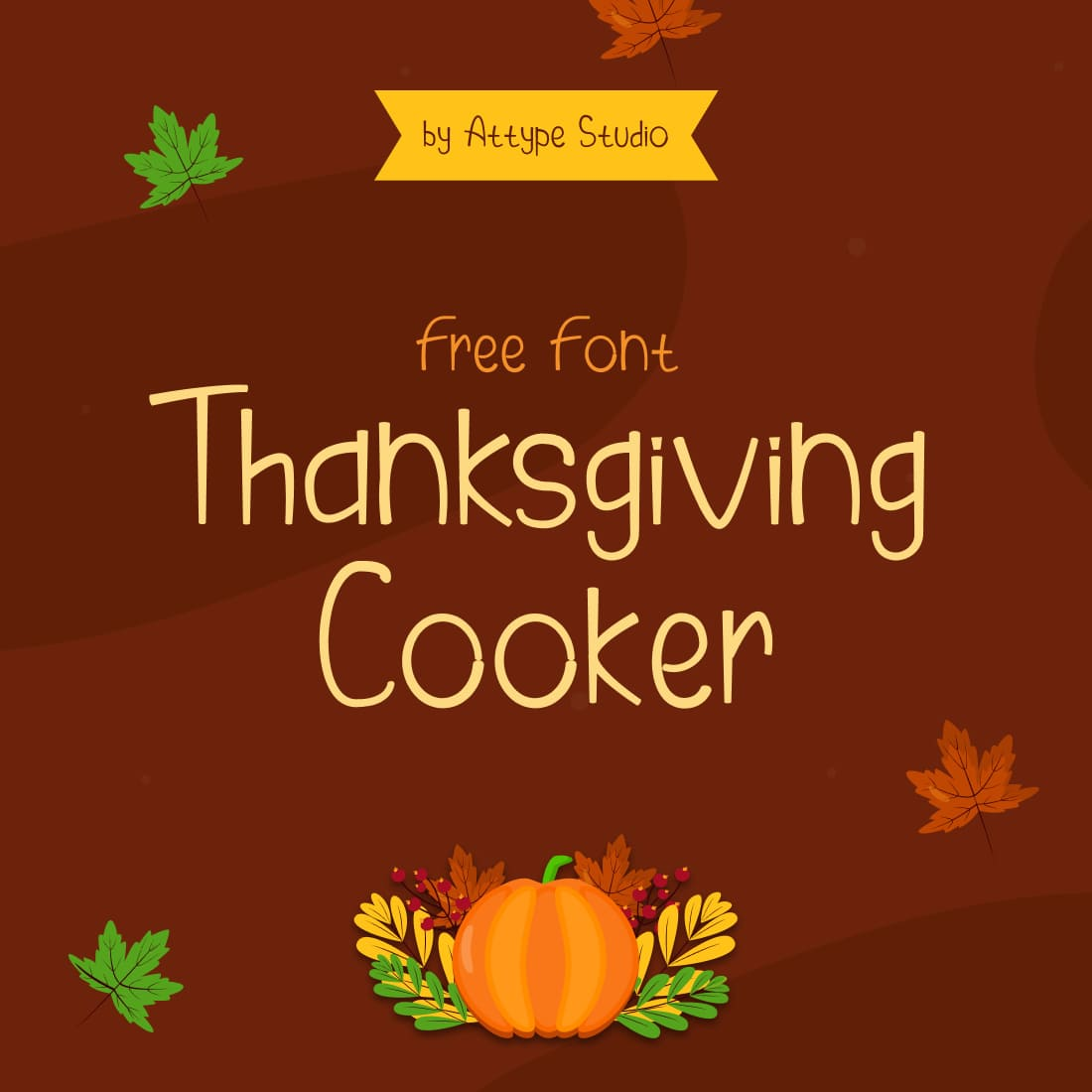 Thanksgiving Cooker Free Font Main Cover by MasterBundles.