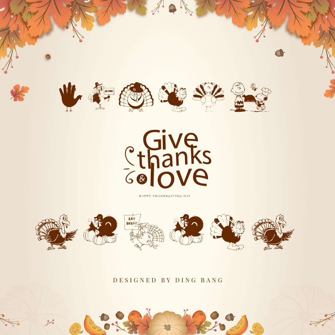 Thanksgiving Turkey Free Symbol Font Cover Collage Image.