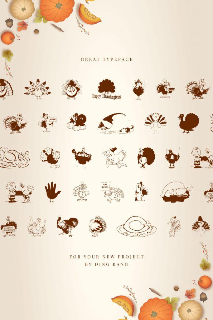 MasterBundles Thanksgiving Turkey Free Symbol Font Pinterest Preview with Pumkin.