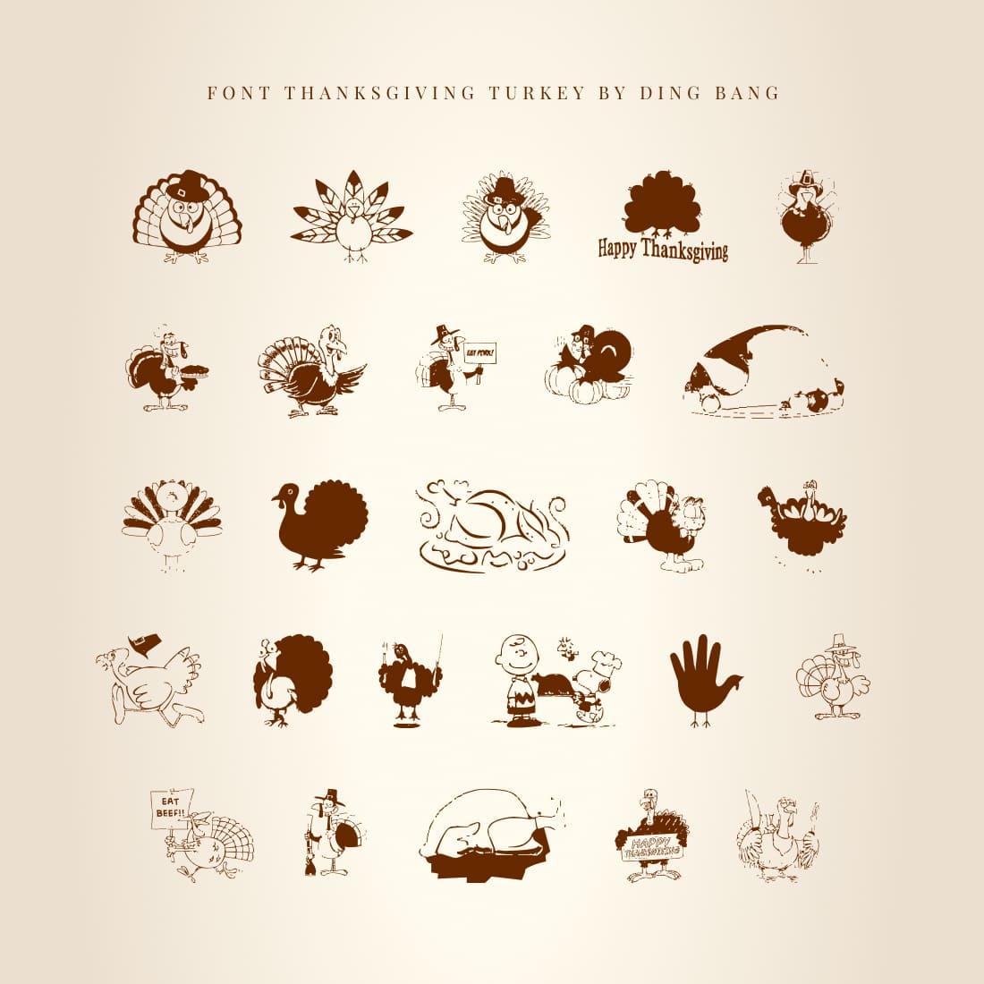 Thanksgiving Turkey Free Symbol Font Preview by MasterBundles.