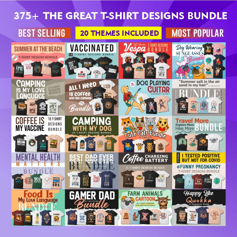 The Great T-shirt Designs Bundle preview image.