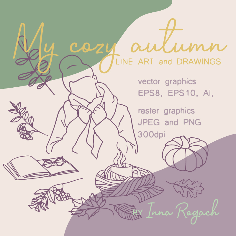 40+ Autumn Vector and Raster Illustrations cover image.