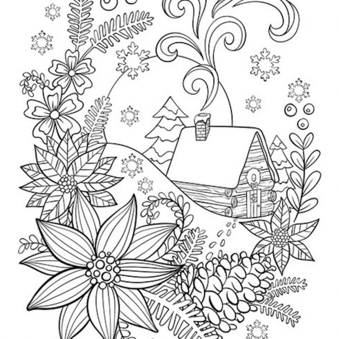 Free Christmas Coloring Page Cabin in the Snow cover image.