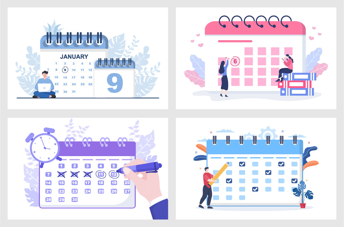 Calendar for Planning Work or Events Vector Illustration image.