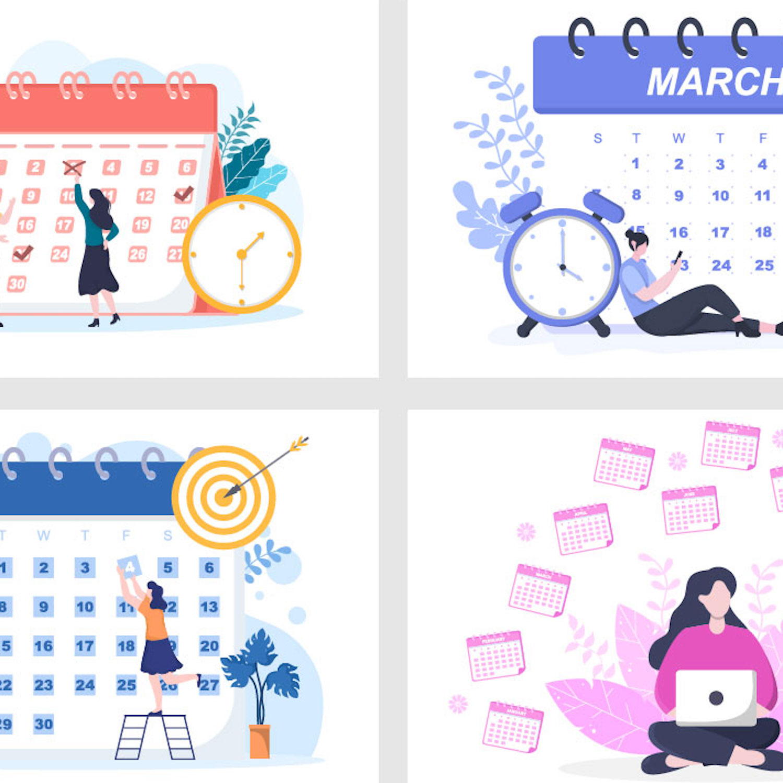 Calendar for Planning Work or Events Vector Illustration preview image.