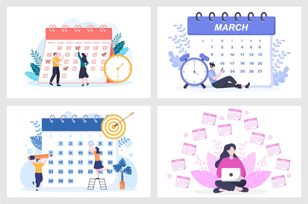 Calendar for Planning Work or Events Vector Illustration image cover.