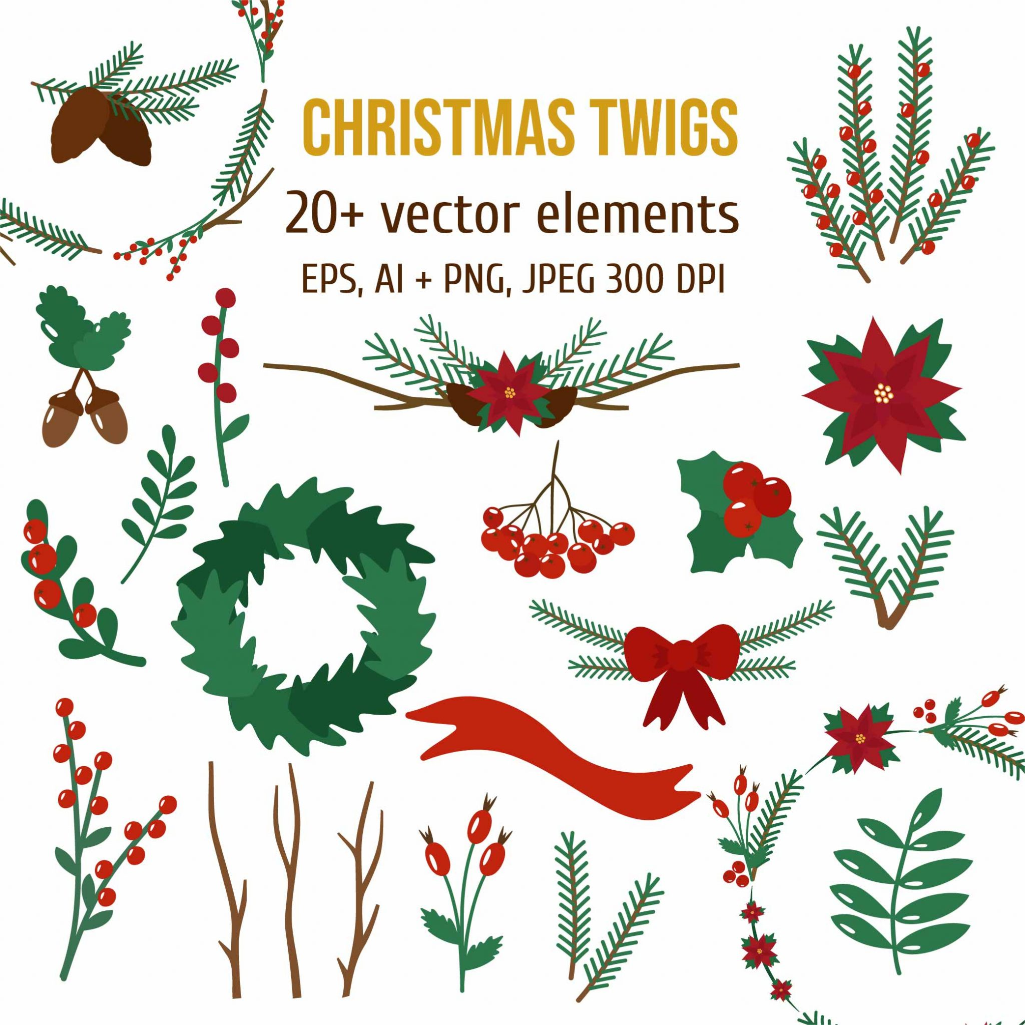 Christmas Twigs Vector Set of Illustrations cover image.