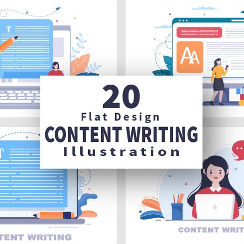 20 Content Writing or Journalist Vector Illustrations cover image.