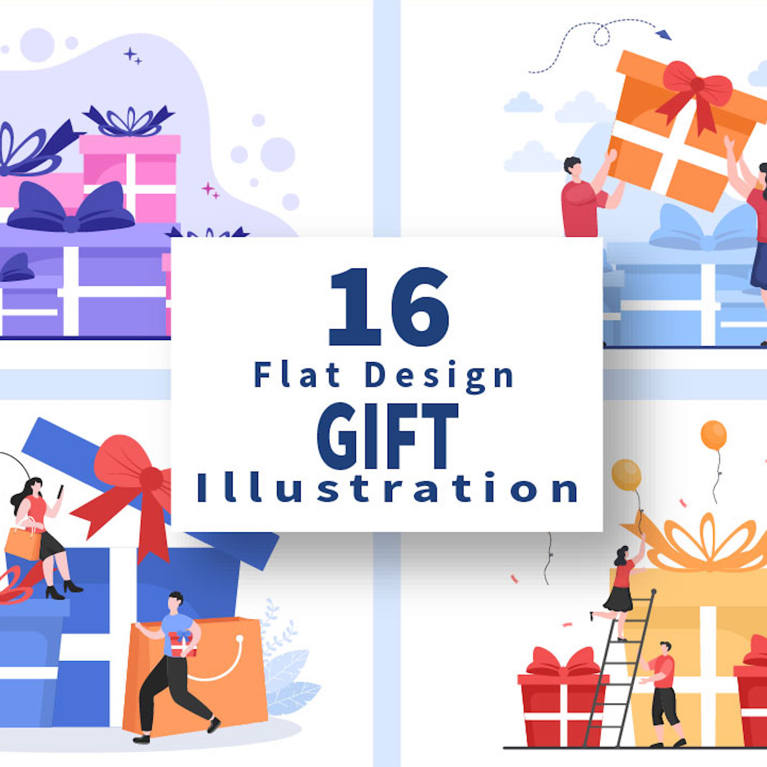 16 Colorful Wrapped Gift Box Online Delivery Illustrations cover image.