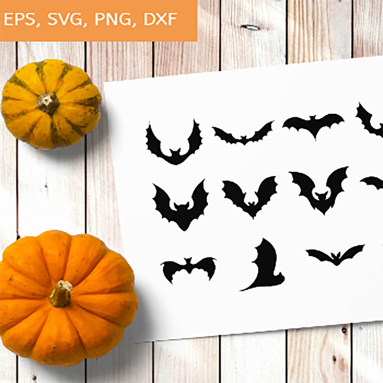Bats SVG, Bat Bundle SVG, Halloween Bats, Flying Bats svg, 14 Variations cover image.