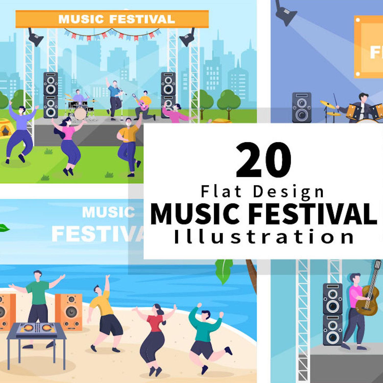 20 Music Festival Live Singing Performance Vector Illustration cover image.
