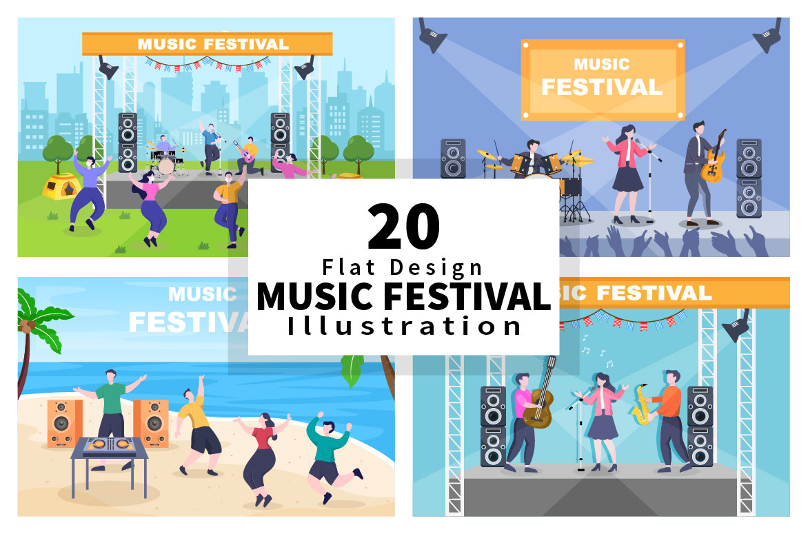 Music Festival Live Singing Performance Vector Illustration preview.