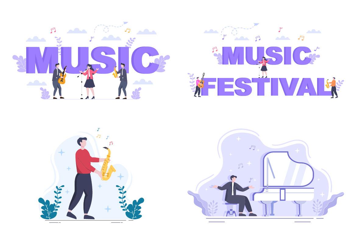 Music Festival Live Singing Performance Vector Illustration purple.
