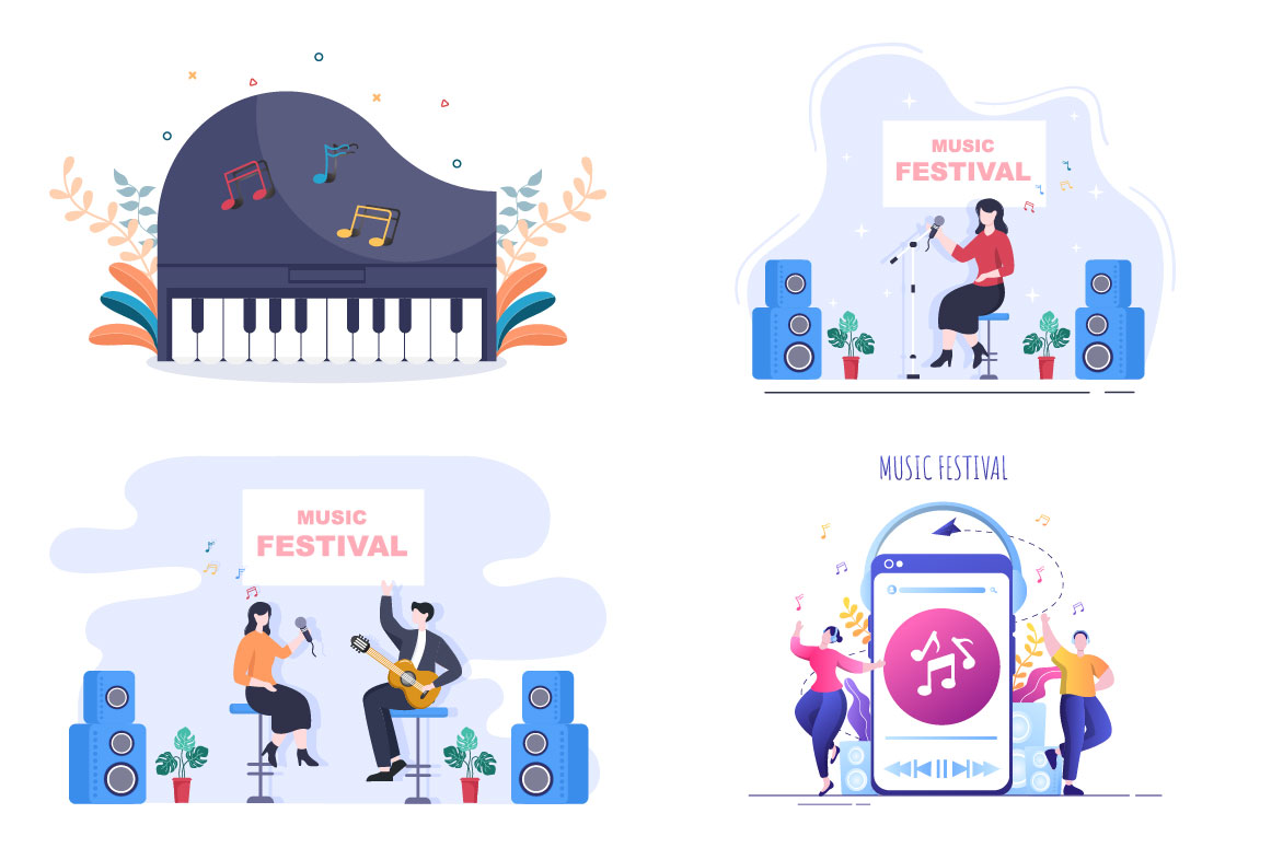 Music Festival Background Vector Illustration With Musical Instruments and Live Singing Performance for Poster.