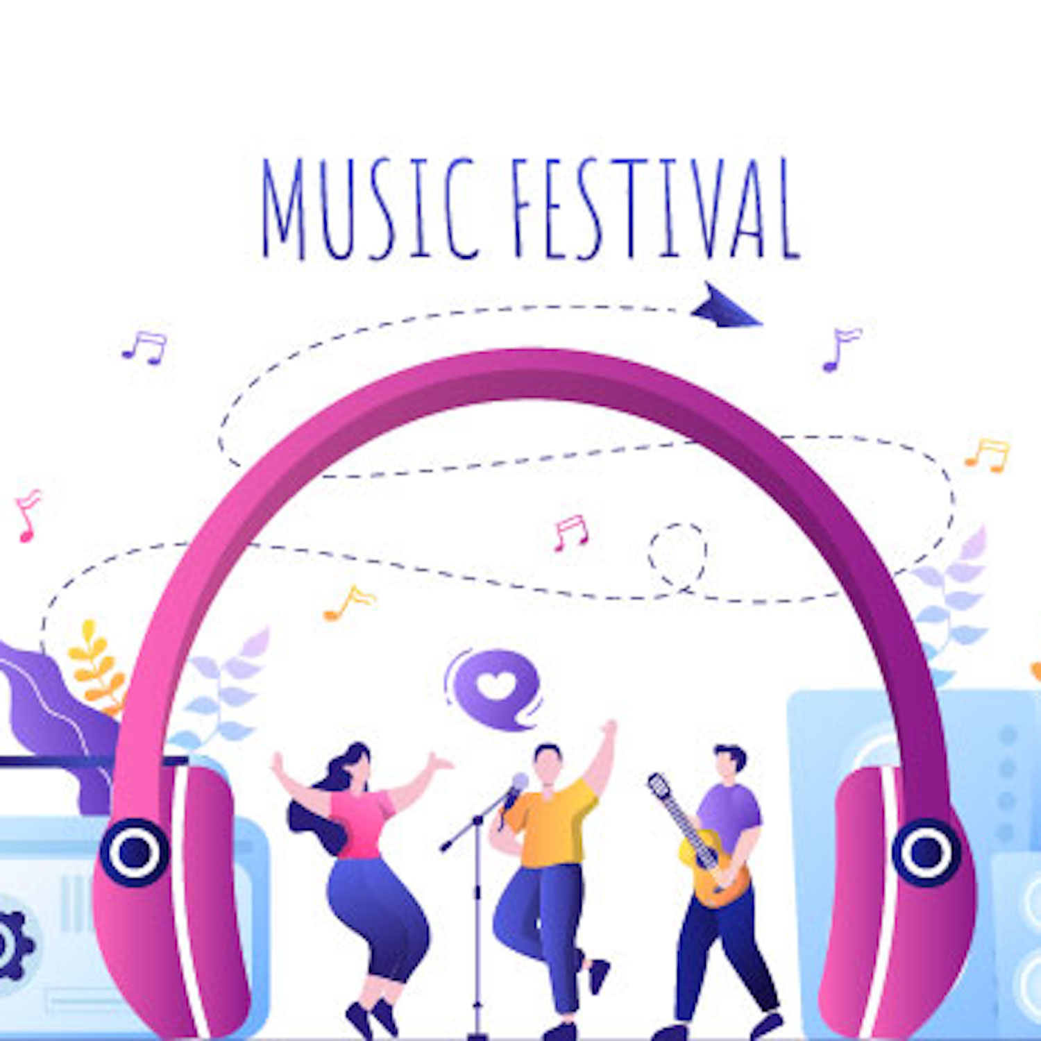 20 Music Festival Live Singing Performance Vector Illustration preview image,