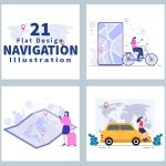 21 GPS Navigation Map and Compass Vector Illustrations cover image.