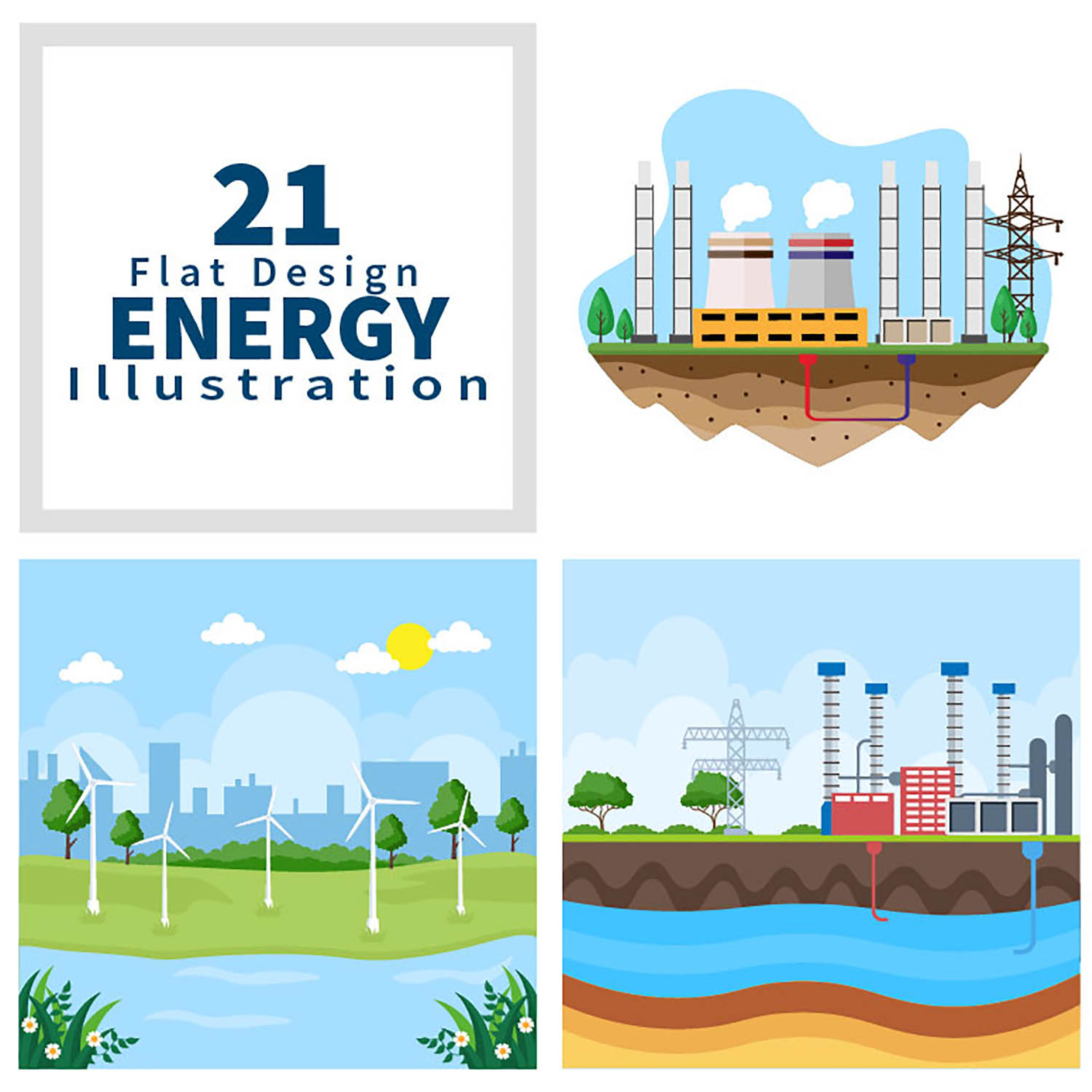 21 Ecological Sustainable Energy Supply Illustrations preview image.