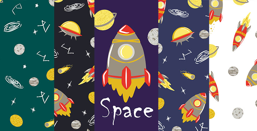 Space Set of 6 Seamless Patterns facebook cover.