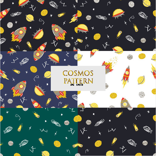 Space Set of 6 Seamless Patterns cover image.