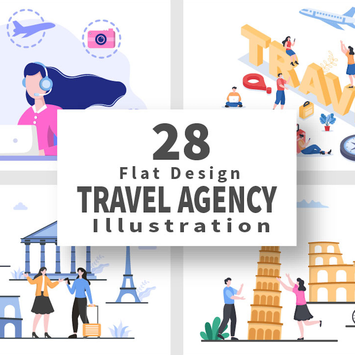 Travel Agency Around The World Vector Illustrations covet image.