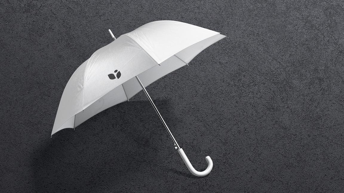 Umbrella Mockups Bundle on black background.
