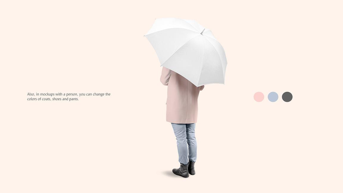 white Umbrella Mockups Bundle on pink backgrounds.