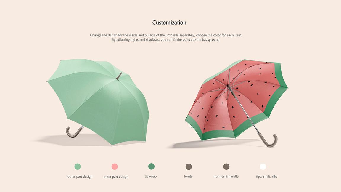 Umbrella Mockups customization process.